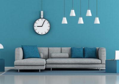 μπλε σαλόνι με γκρι καναπέ