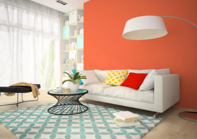 σαλόνι βαμμένο πορτοκαλί με λευκή και τιρκουαζ διακόσμηση