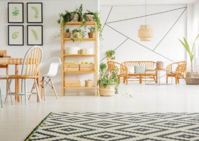 σαλόνι βαμμένο λευκό με άσπρη και ξύλινη διακόσμηση